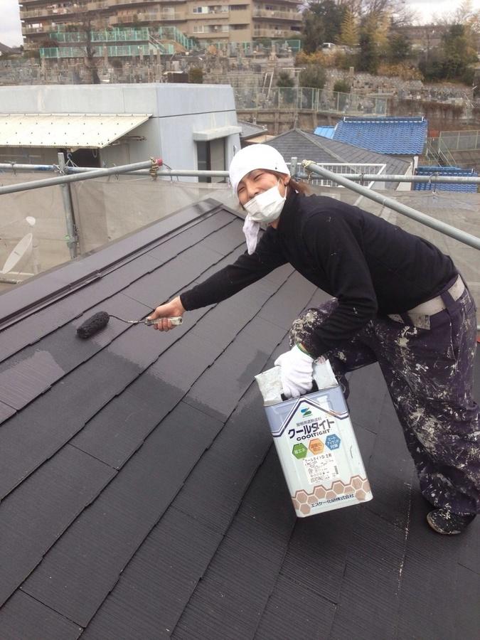 1.16茨木市 秋元様邸 屋根の下塗り1.jpg